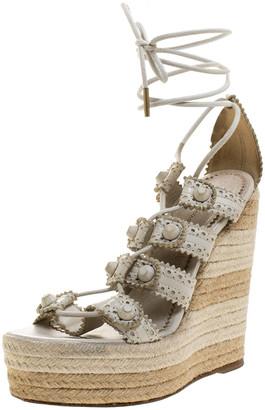 Balenciaga White Leather Lace Up Espadrille Wedges Platform Ankle Wrap Sandals Size 38