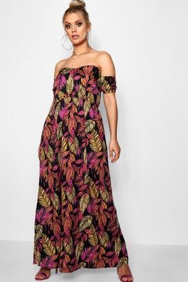 boohoo Plus Palm Off Shoulder Maxi Dress