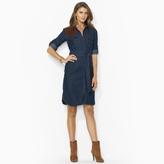 Ralph Lauren Jeans Co. Suede-Patch Denim Shirtdress