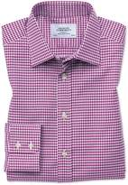Classic Fit Large Puppytooth Berry Cotton Formal Shirt Single Cuff Size 15.5/33 by Charles Tyrwhitt