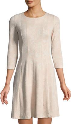 Taylor 3/4 Sleeve Jacquard Fit-&-Flare Dress