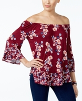 Style&Co. Style & Co Style & Co Petite Printed Flounce-Hem Off-The-Shoulder Top, Created for Macy's