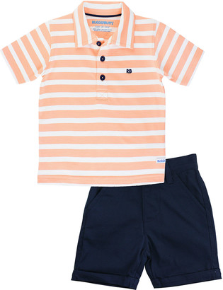 RuffleButts Stripe Polo Shirt w/ Chino Shorts, Size 3M-5