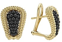 Lagos Gold & Black Caviar Collection 18K Gold & Ceramic Huggie Earrings