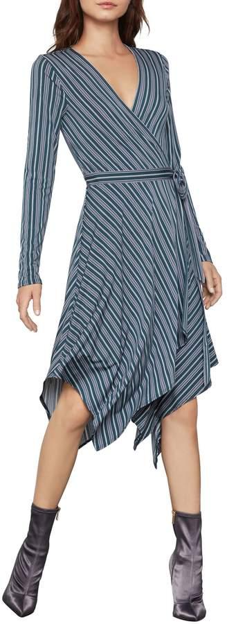BCBGMAXAZRIA Long-Sleeve Striped Wrap Dress
