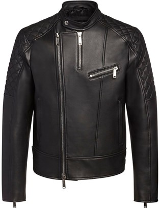 DSQUARED2 Leather Biker Jacket W/ Quilted Details