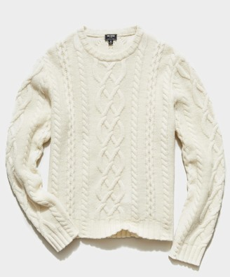Todd Snyder Cable Fisherman's Sweater in Off White