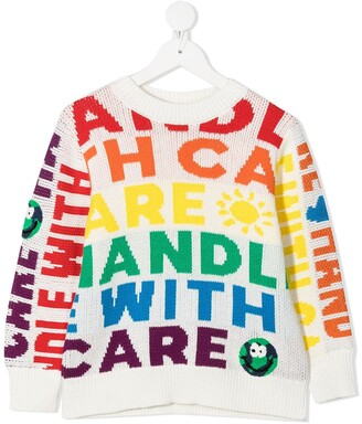 Stella McCartney Kids Handle With Care intarsia jumper
