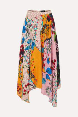 Saloni Freja Asymmetric Floral-print Silk Crepe De Chine Midi Skirt - Baby pink