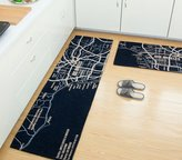 Wolala Home Modern Creative Fashion Los Angeles Map Kitchen Rug Runners 2 Pcs Sets Non-slip Absorbent Bathroom Rugs Doormat (1'6x2'6+1'6x4'0, )