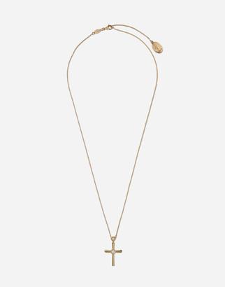 Dolce & Gabbana Family Cross Pendant With Diamonds On Yellow Gold Chain