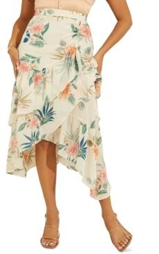 GUESS Maritza Floral-Print Faux-Wrap Ruffled Skirt