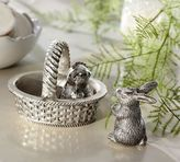 Pottery Barn Antique-Silver Bunny & Chick Salt & Pepper Shakers