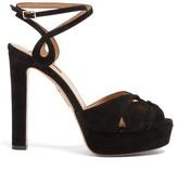 Aquazzura Gardena 120 Suede Platform Sandals - Womens - Black