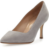 Manolo Blahnik BB Suede 70mm Pump, Cement Light Gray