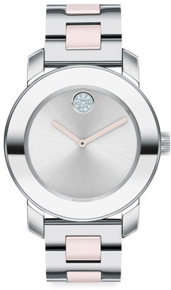 Movado Bold Evolution Ceramic, Stainless Steel & Crystal Bracelet Watch