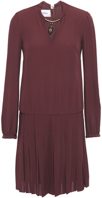 Valentino Cutout Pleated Embellished Silk Mini Dress