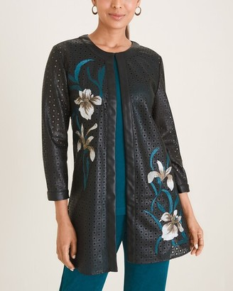 Travelers Collection Floral-Embroidered Faux-Leather Jacket