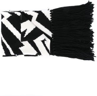 Stella McCartney Two-Tone Patterned Wool Scarf