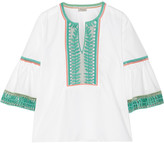 Temperley London Clara embroidered cotton-poplin blouse