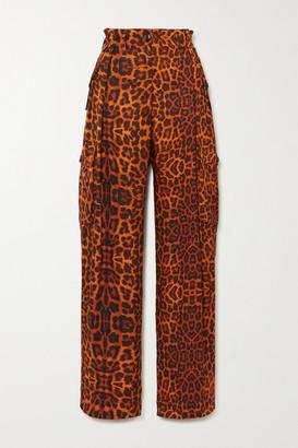 Dries Van Noten Leopard-print Silk-satin Cargo Pants - Orange