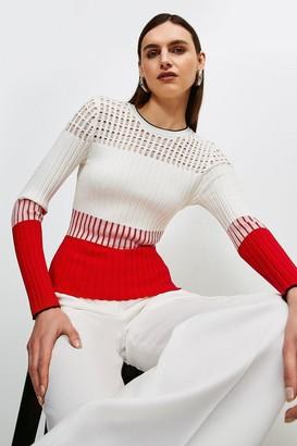 Karen Millen Pointelle detail Colour Block Knit Jumper