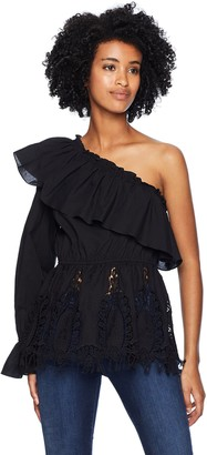 BCBGMAXAZRIA Women's One-Shoulder Floral Embroidered Top