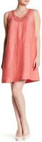Nic+Zoe Jetset Embellished Neck Linen Blend Dress