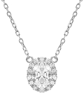 Bliss Sterling Silver & Cubic Zirconia Oval Halo Pendant Necklace