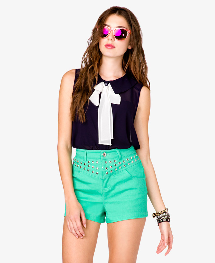 Forever 21 Bow Accent Shirt