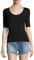Alexander Wang Stretch Jersey Open-Back Tee, Black