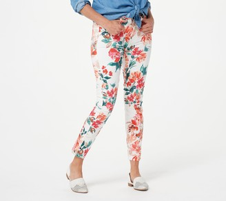 JEN7 by 7 For All Mankind Jen7 for 7 for All Mankind Printed Sateen Ankle Jeans -Peony Blooms