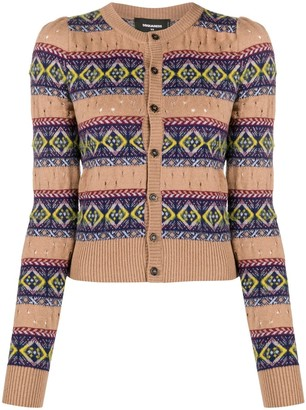 DSQUARED2 Fair Isle-Style Knitted Cardigan
