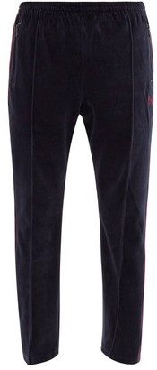 Needles Butterfly-embroidered Cotton-blend Trousers - Navy