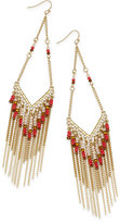 Thalia Sodi Gold-Tone Colored Bead Fringe Drop Earrings, Only at Macy's