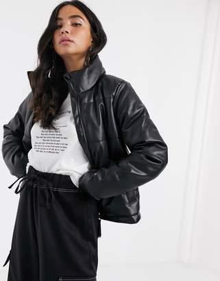 Noisy May padded jacket in black leather look