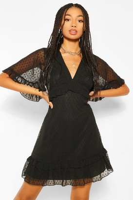 boohoo Dobby Mesh Plunge Angel Sleeve Skater Dress