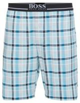 Hugo Boss Short Pant EW Jersey Cotton Plaid Lounge Shorts M Blue