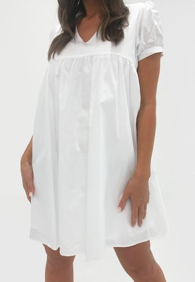 Missguided White Puff Sleeve V Neck Smock Dress