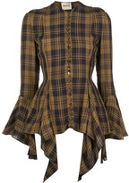 KHAITE flared cuff checked print blouse