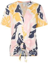 Cédric Charlier leaf print drawstring top - women - Polyester - 42