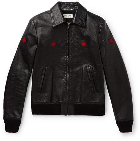 Saint Laurent Slim-fit Full-grain Leather Bomber Jacket - Black