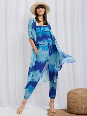 New York & Co. Tie-Dye Long Kimono - Sweet Pea