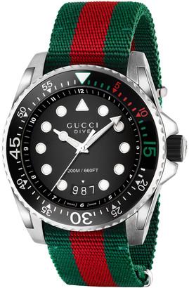 Gucci 45mm Dive Watch w/ Nylon Web Strap