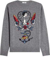 Valentino Printed Virgin Wool Pullover with Cashmere