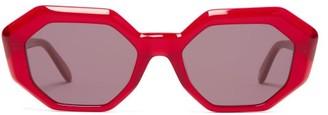Garrett Leight Jacqueline Octagon Acetate Sunglasses - Womens - Red