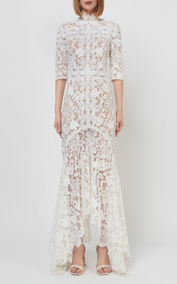 Costarellos Kalissa Guipure-Lace Mermaid Gown