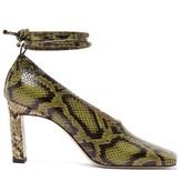 Wandler Isa Wraparound Python-effect Leather Pumps - Womens - Green Multi