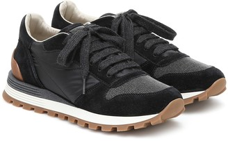 Brunello Cucinelli Embellished suede sneakers