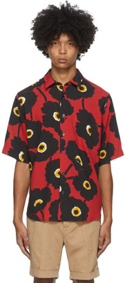 Ami Alexandre Mattiussi Black and Red Printed Summer Fit Short Sleeve Shirt